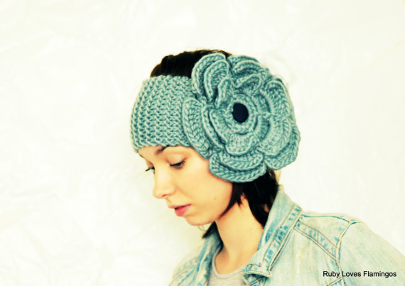 PDF Pattern - Smoke Blue - Grey Knitted Ear Warmer - Crochet Flower Head Band